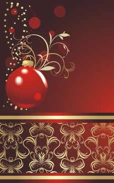 Free Red Ball With Christmas Tinsel. Wrapping Stock Image - 17169901