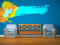 Free Two Chairs With Wooden Bench And Splash Frame Stock Photo - 17174410