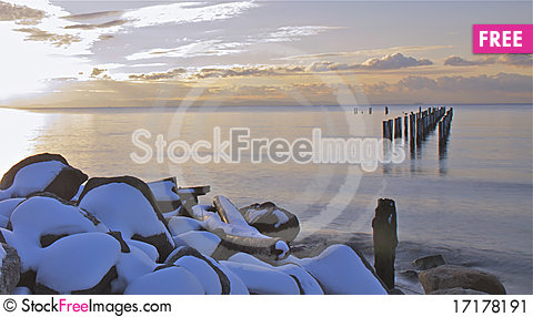 Free Old Pier Sunset Stock Image - 17178191