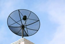 Free Black Satellite Dish, Blue Sky Stock Image - 17170161