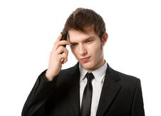 Man With A Telephone Stock Images