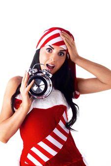 Santa Girl Holding A Clock Stock Image