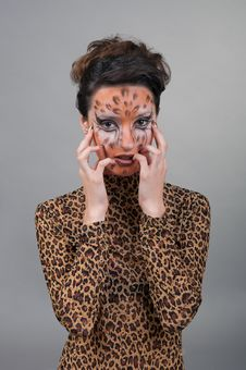 Portrait Of Girl With Leopard S Face-art Stock Photos