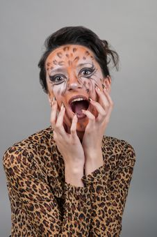 Free Portrait Of Girl With Leopard S Face-art Royalty Free Stock Photography - 17170857