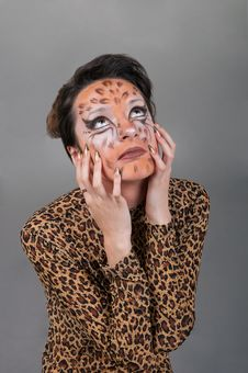 Free Portrait Of Girl With Leopard S Face-art Royalty Free Stock Photos - 17170878