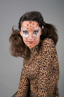 Portrait Of Girl With Leopard S Face-art Stock Images