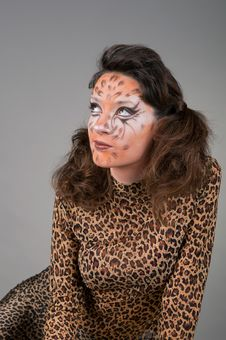 Portrait Of Girl With Leopard S Face-art Stock Photo