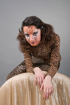 Free Portrait Of Girl With Leopard S Face-art Royalty Free Stock Photography - 17171017