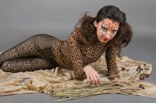 Portrait Of Girl With Leopard S Face-art Royalty Free Stock Photography