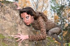 Portrait Of Girl With Leopard S Face-art Royalty Free Stock Image