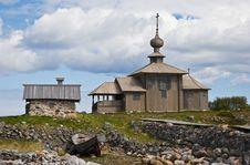 Saint Andrew Chapel On Greater Zayatsky Island Royalty Free Stock Image