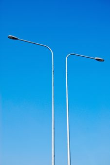Electricity Lamp Post On The Blue Sky Stock Photography