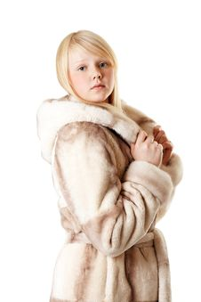 Free A Beautiful Young Girl In A Fur Coat Stock Image - 17171881