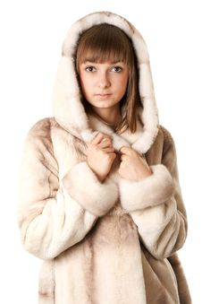 Free A Beautiful Young Girl In A Fur Coat Royalty Free Stock Photography - 17171927