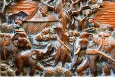 Free Farmer And Elephant Wood Carving Background Stock Photo - 17172030