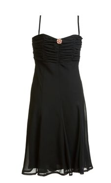 Free Black Evening Satin Gown With Brooch Stock Photography - 17172152