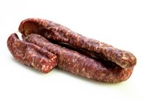 Free Sausage Cut In Half On White Background Stock Images - 17172484