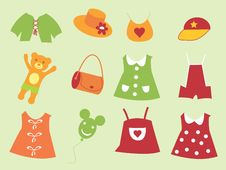 Free The Set Of The Baby Cloth. Royalty Free Stock Photos - 17172558