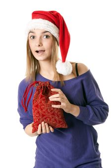 Free Beautiful Girl In Red Santa Hat Stock Photography - 17172812