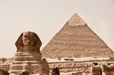 Sphinx And Pyramid Of Khafra Stock Image