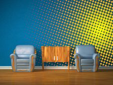 Free Two Chairs With Wooden Console In Blue Interior Royalty Free Stock Images - 17173869