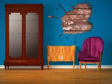 Free Cupboard With Table, Purple Chair And Splash Hole Royalty Free Stock Photos - 17173998