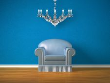 Free Alone Chair And Silver Chandelier Royalty Free Stock Photography - 17174077