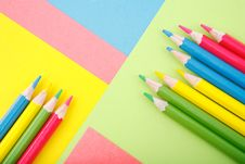 Color Paper With Crayons Stock Images