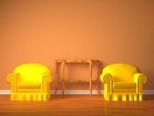 Free Two Chairs With Wooden Console Stock Images - 17174284
