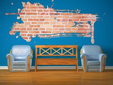 Free Two Chairs With Wooden Bench And Splash Hole Stock Images - 17174444