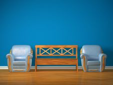 Free Two Chairs With Wooden Bench Royalty Free Stock Images - 17174469