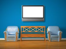 Free Two Chairs With Wooden Bench And Lcd Tv Royalty Free Stock Images - 17174489