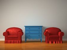 Free Two Chairs With Wooden Bedside Royalty Free Stock Photo - 17174525