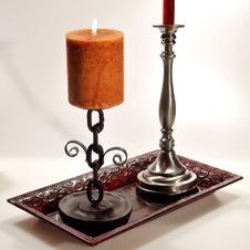 Free Two Candles On A Platter Royalty Free Stock Images - 17175249