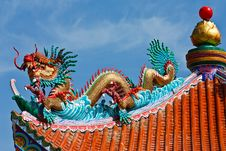 Dragon Statue On Chinese Style Roof Stock Image