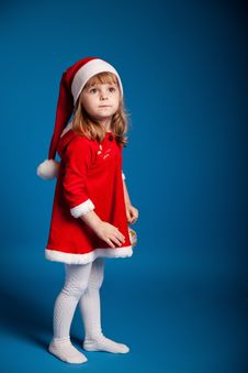 Free Sweet Little Girl Dressed In Santa Costume Royalty Free Stock Photography - 17175747