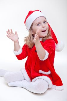 Free Joyful Santa Girl On White Royalty Free Stock Photography - 17175767