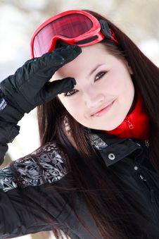 Winter Portrait Of Lovely Brunette Girl Stock Images