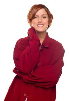 Free Red Haired Girl Wearing A Warm Red Corduroy Shirt Stock Photos - 17176853