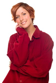 Free Red Haired Girl Wearing A Warm Red Corduroy Shirt Stock Images - 17176854