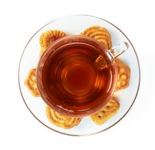 Free Cup Of Hot Tea With Cookies Royalty Free Stock Photos - 17177168