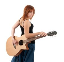 Free Woman With Guitar Royalty Free Stock Image - 17179126