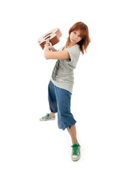 Girl Smashing A Guitar Royalty Free Stock Photography
