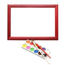 Free Paintbrush, Wood Frame And Paint Royalty Free Stock Photo - 17179475