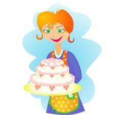 Woman And Cake Stock Photos