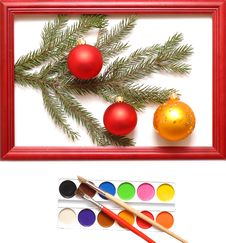 Free Christmas Balls In Wood Frame Stock Images - 17179764