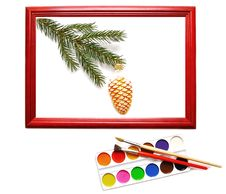 Free Christmas Decoration In Wood Frame Stock Images - 17179804
