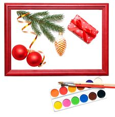 Free Christmas Presents In Wood Frame Stock Image - 17179821