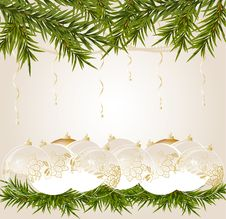 Free Gold End Withe Transparent Christmas Ball Stock Photos - 17179953