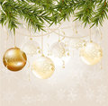 Free Gold End White Transparent Christmas Ball Stock Images - 17180074